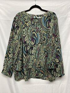 J Jill Women's Paisley Print Long Sleeve Double Layer Blouse Tunic Size XL