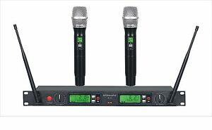 GTD 2 x100 Channel UHF Cordless Wireless Microphone Mic System 500 MHz Band B22H
