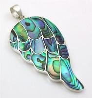 Natural Abalone Shell 925 Sterling Silver Wing Shape pendant Women Jewelry SD080