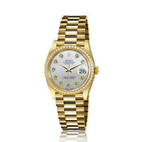 Rolex 31mm Presidential 18kt Gold White MOP Mother Of Pearl Diamond Dial Diamond