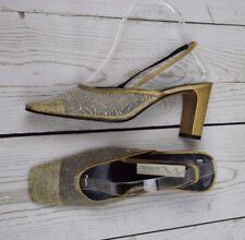 Nina Slingback Chunky Heel Gold  Mesh Women's Size 7.5M Shoes