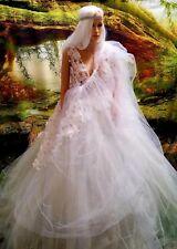 ADHIRA 4 Pc White 3D Lace & Tulle Lehenga Saree/Sari Bridal Wedding Ballgown Set