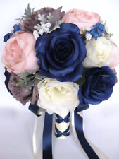 17 piece Wedding Bouquet package Bridal Silk Flowers NAVY BLUE PINK BLUSH GRAY