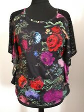 Striking H & M floral top with black lace inserts on sleeves size medium BNWT