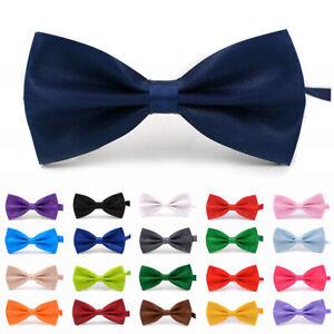 Men Bowtie Classic Wedding Party Bow Tie Solid Color Adjustable Necktie Fashion