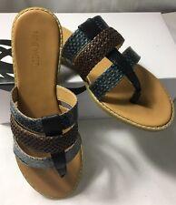 Nine West Blue Green & Brown Slip On Sandals NWKARAKA Womens Sz 7.5 New