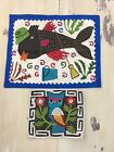 VTG EMBROIDERED QUILT ART - Cleaning Fish, Owl, Hand Stitched, Fiber art!  COOL!