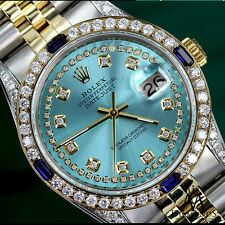 Rolex 31mm Datejust 2 Tone Ice Blue String Real Diamond & Sapphire Bezel 18K