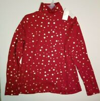 Time & Tru Women's Turtleneck NWT  Mock Neck Winter Red Stars Christmas Holiday