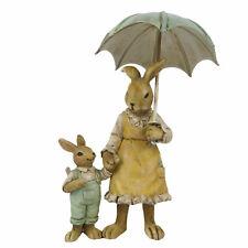 Clayre Eef Osterhase Hase Osterdeko Hasenmama mit Regenschirm Ostern 13x4x9 cm