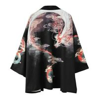 Men Japanese Kimono Yukata Coat Outerwear Cardigan Dragon Top Loose Retro Casual