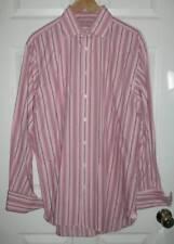 Thomas Pink Mens Pink Grey Black Stripe Long Sleeve Cotton Dress Shirt 35 16 1/2