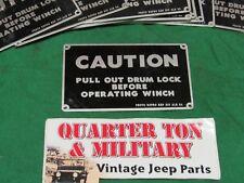 Jeep Military Dodge M37 M35 M715 Winch caution Plate NOS   (P104)