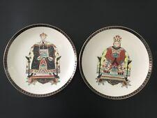 """Par De Pintado a Mano De Emperador Chino & emperatriz Placas De Porcelana Marca de 12 1/4 """"Qianlong"""
