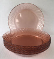 "Vintage Fortecrisa Pink Swirl Depression Style Glass Bowls 8 1/4"" Set Of 6"