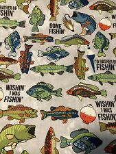 Gone Fishing BASS FISH Flannel Fabric By the Half Yard Cotton