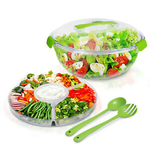 6 Piece Salad Bowl Set Serving Party Tray Vegetable Travel Camping Appetizer BBQ