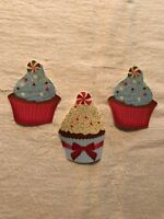 Christmas Cupcake With Touch of Glitter - 3 - Iron-On Fabric Appliques.