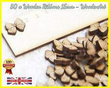 50 Wooden Ribbons Shapes Craft Scrapbooking Ribbon Wood gift Card Making MDF