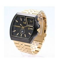 NEW DIESEL BLACK+GOLD TONE,S/STEEL,DUAL TIME ZONE LARGE BRACELET WATCH-DZ1408