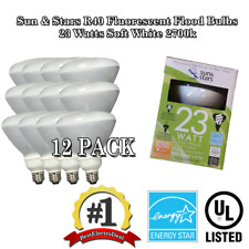 12x 23W R40 Fluorescent Flood Light Bulb SSL23-R40/SW Warm White 2700K Sun&Stars