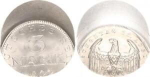 Inflationszeit 3 Mark Aluminium J.303 1922 Fehlprägung 30 % dezentriert f.st