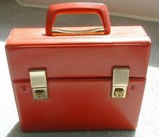 Retro bright red music cassette carry attache case