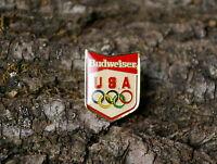 Budweiser USA Beer Olympic Rings Gold Tone Metal & Enamel Lapel Pin Pinback