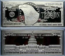 """$20 TRILLION PROOF 4oz SILVER CURRENCY BAR IN AIR-TITE CASE 2.5"""" x 6"""" .999 + COA"""