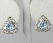 Diamond Accent Sterling Silver Trillion Swiss Blue Topaz Triangle Stud Earrings