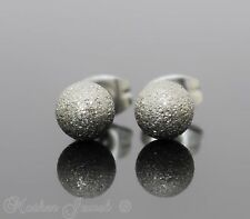 SILVER SURGICAL STEEL ROUND 6MM SAND BLAST BALL MENS WOMENS GIRLS STUD EARRINGS