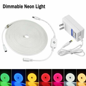 Flexible LED Strip Neon Lights Dimmable Silicone Tube Lamp Waterproof power Plug