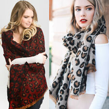 Women Warm Knit Fringe Leopard Animal Blanket Wrap Oversized Scarf Shawl Long