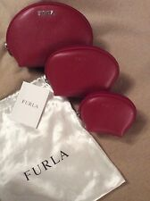 FURLA Red Leather 'ISABELLE' Handbag Set of 3 Zip NEW WITH TAGS!!