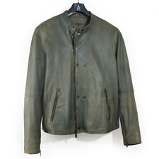 JOHN VARVATOS MEN'S SOFT SHEEP LEATHER JACKET BIKER VINTAGE GREEN   SIZE 56