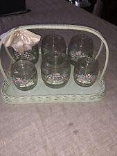 Shabby Chic Vintage Mid Century Baby Nursery Decor Jars Glass w/Wicker Basket