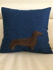 Dachshund on the Pillow Cover Suede dog on denim pillow sham 16x16 Denim sham