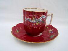 ancienne tasse et sous tasse décor souvenir de Bourbonne les bain en porcelaine