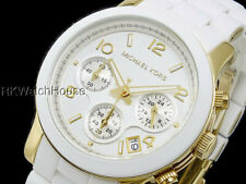 NEW MICHAEL KORS WHITE GOLD CHRONOGRAPH BRACELET LADIES WATCH MK5145