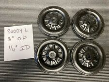 Set of (4) Buddy L Simulated Spoke Rubber Wheel/Tire Replacement Toy Parts