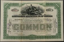 Stock Certificate CORPORATION SECURITIES CO. OF CHICAGO 1930 Signed 100 Shares