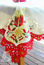 Large Red Trim Christmas Table Cloth Embroidered Candles, 134x180cm FFD022