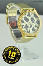 NEWEST! Luxury GUESS Ladies Watch Gold Leather Animal Print Crystals G99051L USA