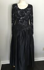Vintage Naeem Khan Riazee Black & Silver Beaded Silk Full Ball Gown Sz 10 EUC