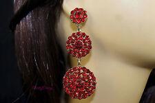Bridal Wedding Prom Party Elegant Crystal Rhinestone Red Chandelier Earrings