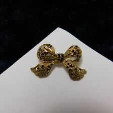 Vintage Gold Tone Bow Brooch black rhinestones and faux pearls cabochons