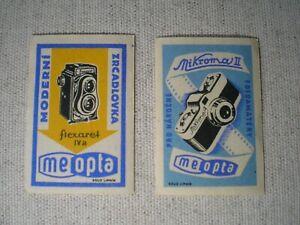 Alt Streichholzetiketten - MEOPTA / Flexaret IVa + Mikroma II Tschechoslowakei