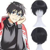 Yuri!!! on Ice Katsuki Yuri Black Cosplay Wig Short Straight Bangs Hair Wig US