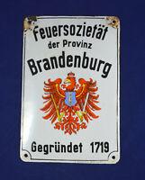 ANTIQUE VINTAGE GERMAN ADVERTISING ENAMEL PORCELAIN SIGN FEUERSOZIETAT BERLIN