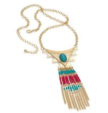 Boho Tribal Necklace Long Gold Seed Beed